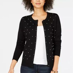 Charter Club Pearl Button-Down Cardigan